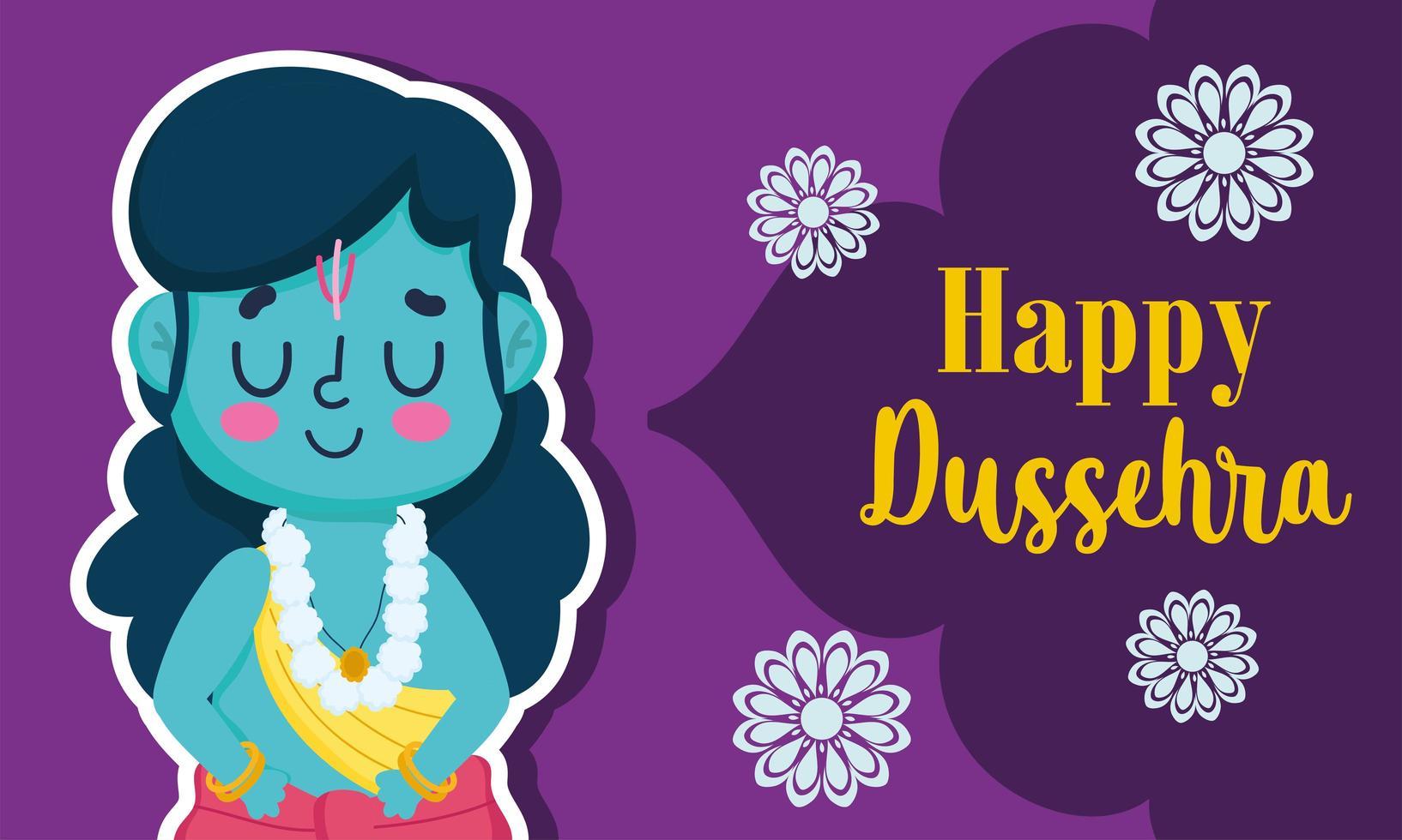 glückliches dussehra Festival von Indien-Kartendesign vektor