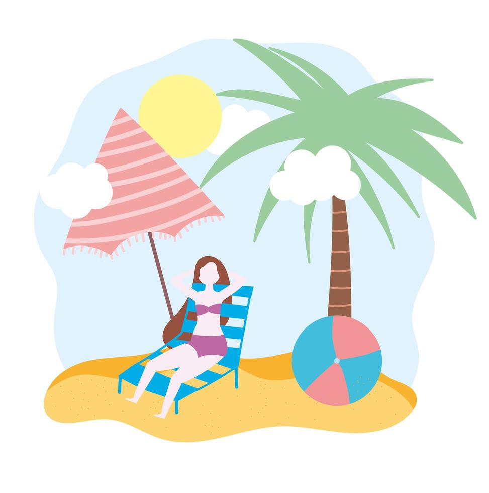 kvinna på stranden på stol med paraply och boll vektor