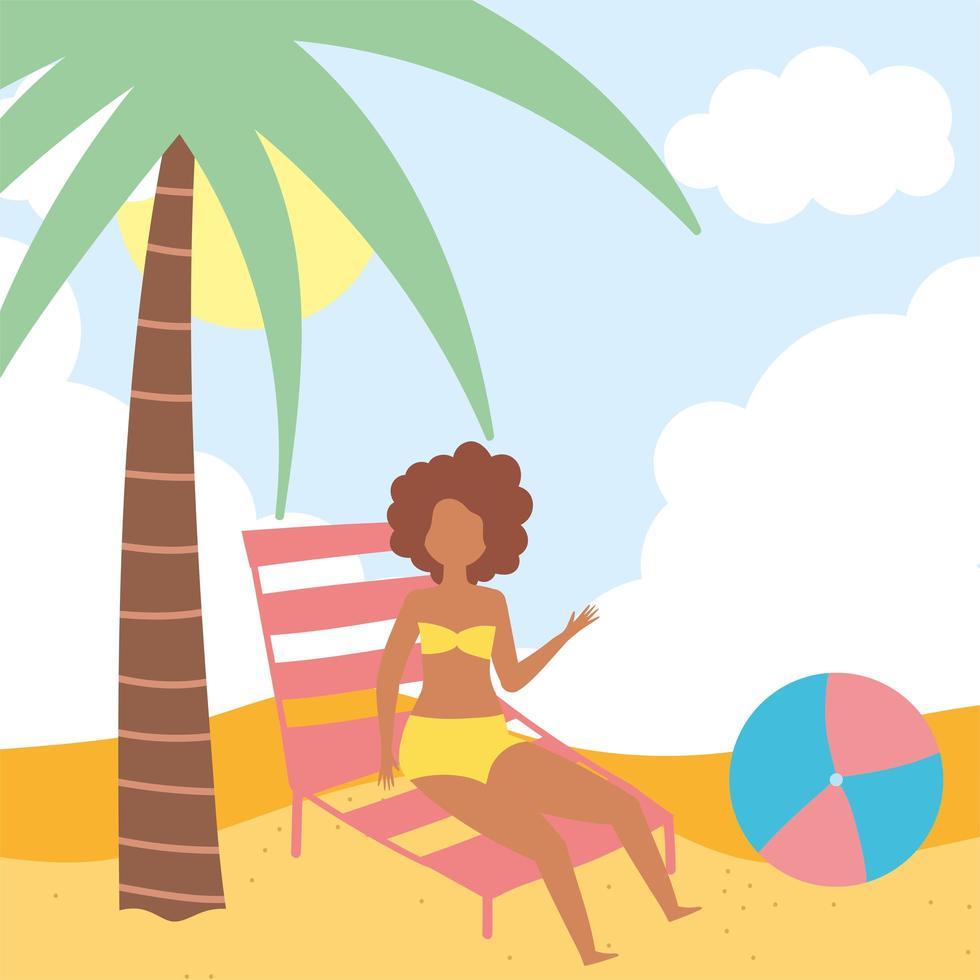 flicka på stranden med solstol och boll vektor