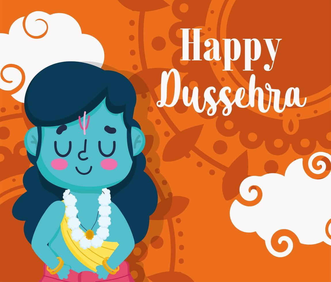 glückliches dussehra Festival von Indien Grußschablone vektor