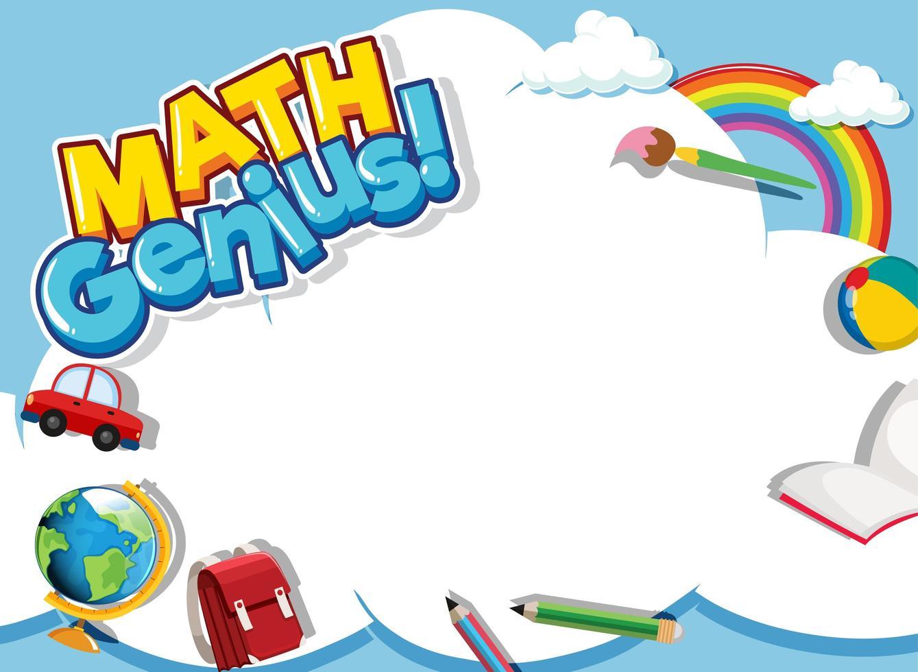 matematisk ram designmall med skolobjekt vektor