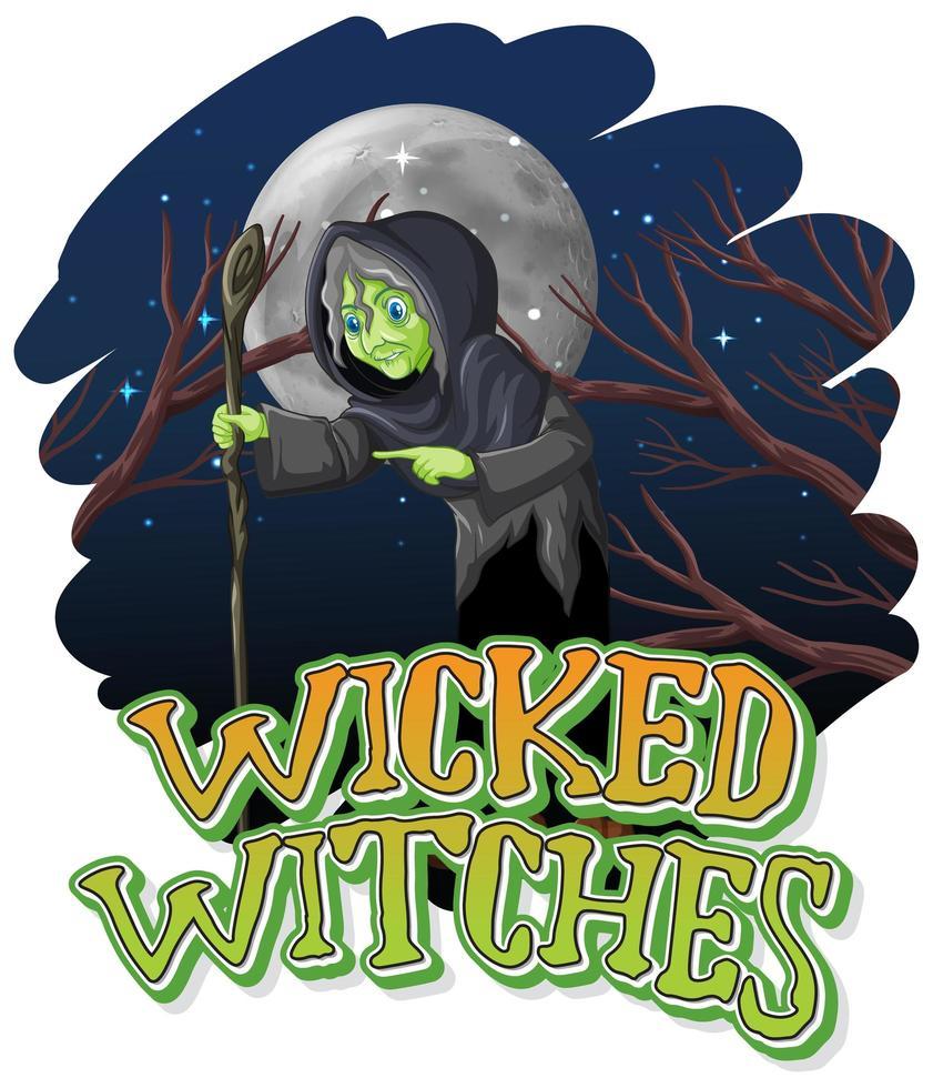 böse Hexen auf einem Nachthintergrund vektor