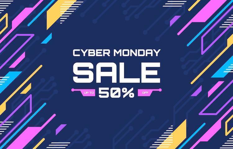 bunter Technologie Cyber Montag Verkauf Hintergrund vektor