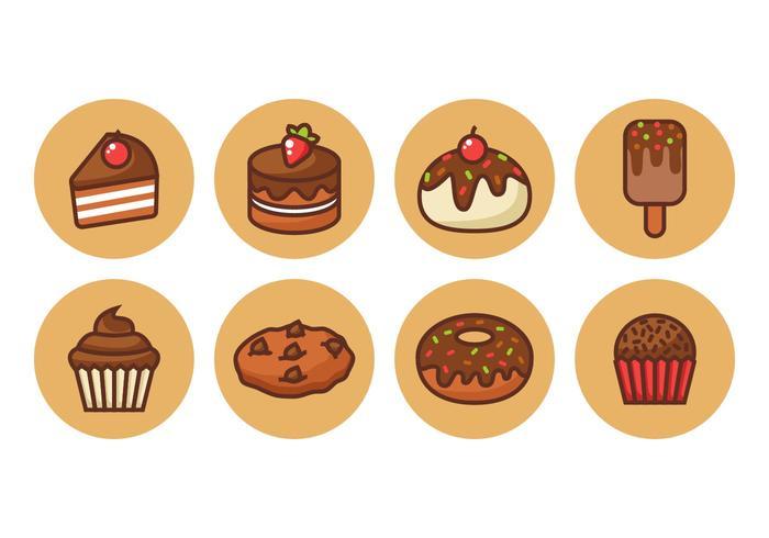 Freie Schokoladen-Kuchen Kontur Icons Vector