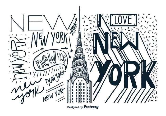 New Yorker Gebäude Hand gezeichnet Vektor