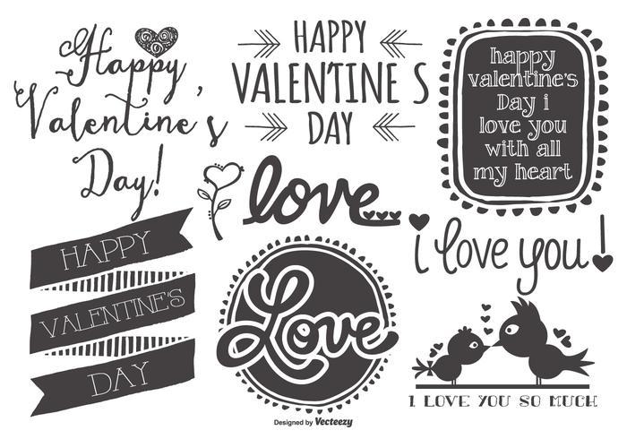 Nette skizzenhafte Hand gezeichnete Valentinstag-Etiketten vektor