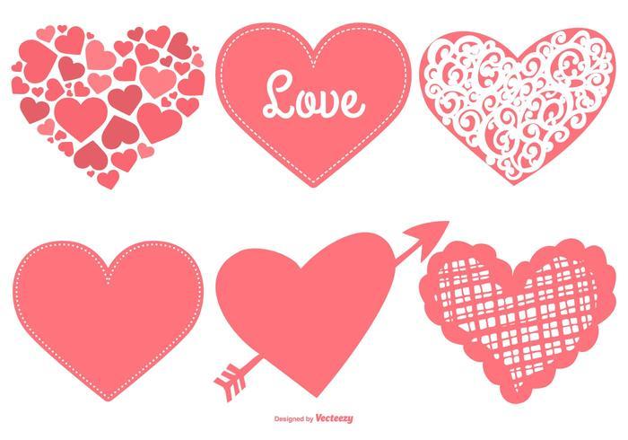 Nette Herzen Sammlung vektor