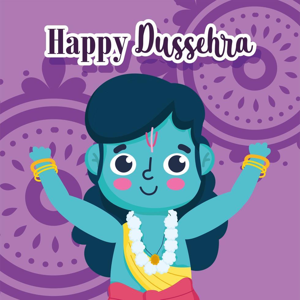 glad dussehra festival i Indien, lord rama design vektor