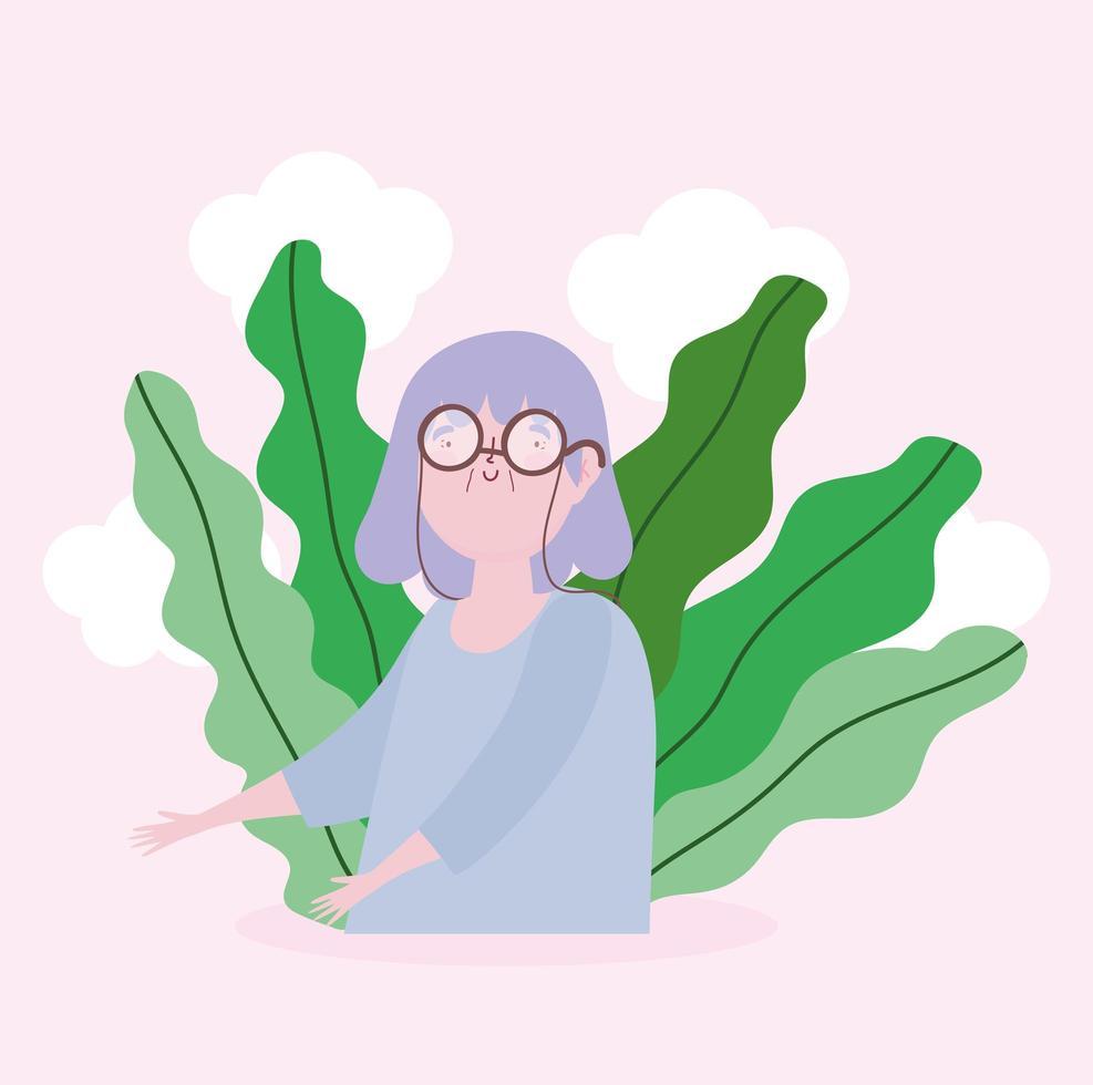 Porträt der weiblichen Figur der Großmutter vektor