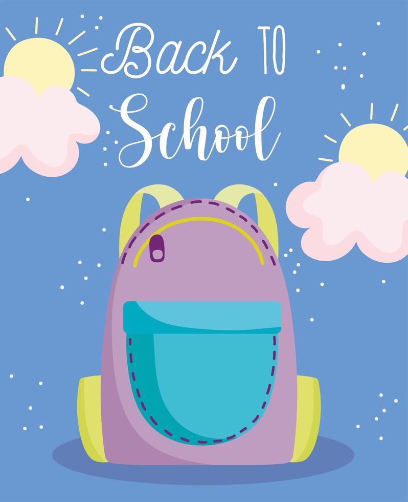 tillbaka till skolan, ryggsäck med dragkedja vektor