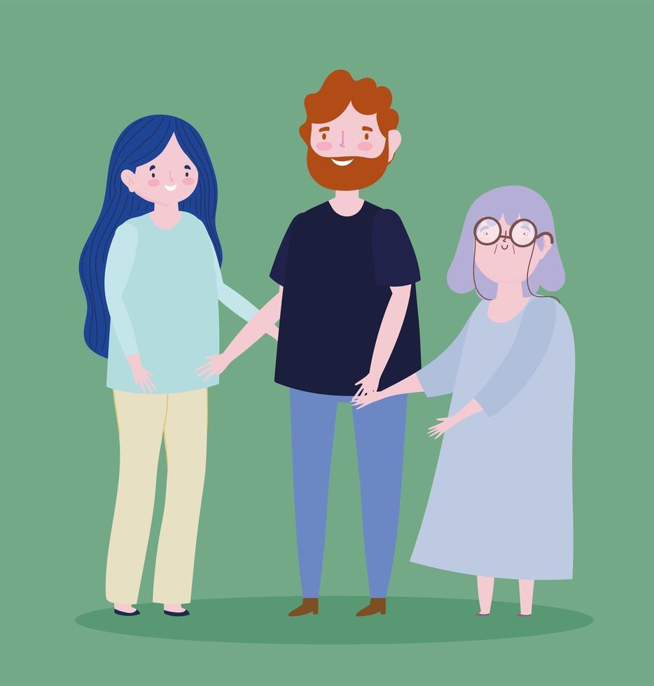 glada föräldrar och mormor vektor