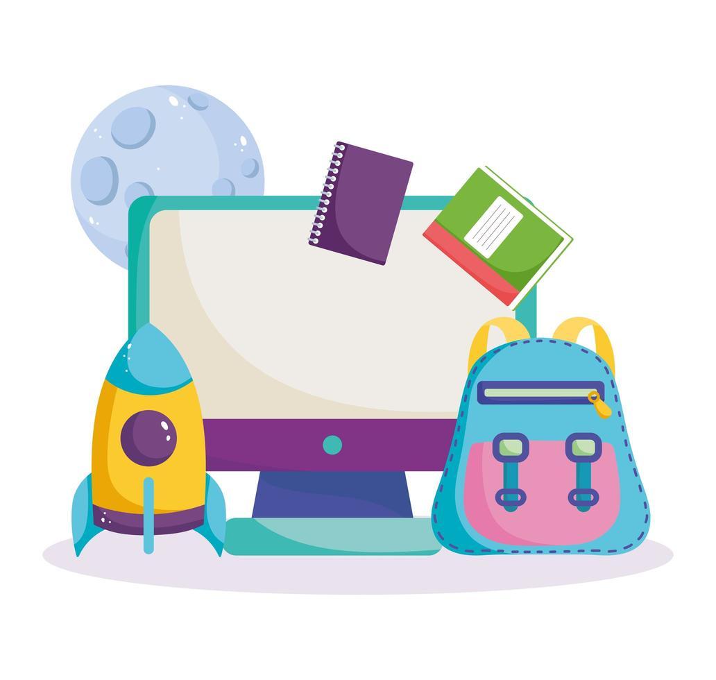 tillbaka till skolan, dator, ryggsäck, böcker och raket vektor