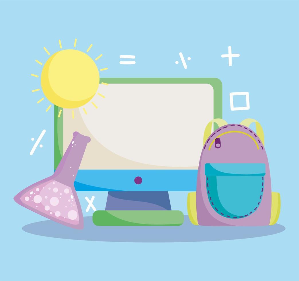 tillbaka till skolan, dator, ryggsäck och provrör vektor