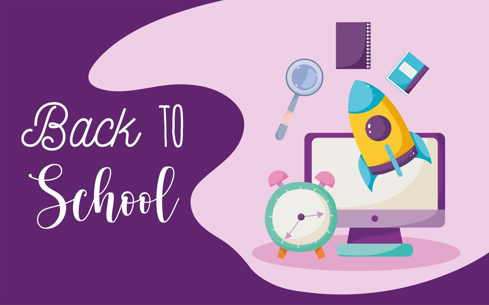 tillbaka till skolan, dator, klocka, raket och böcker vektor
