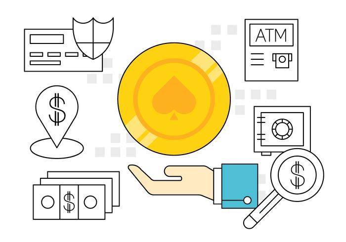 Enkla finansiella ikoner vektor