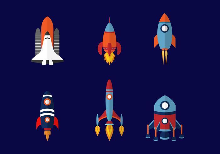 Sex rymdskepp Design vektor