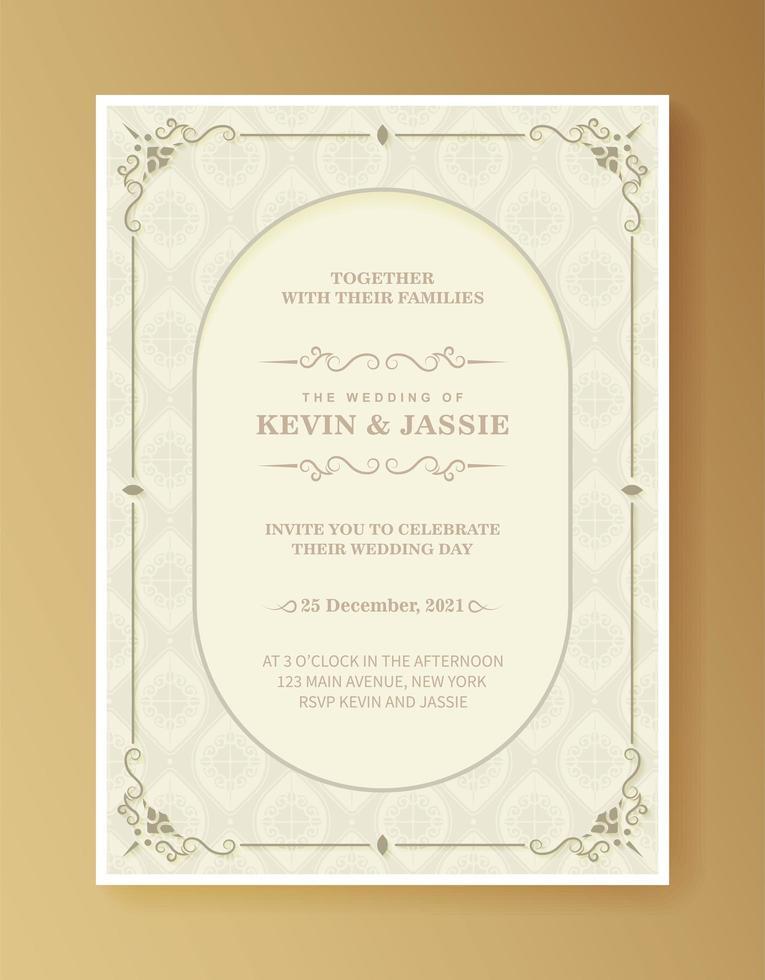 retro bröllopsinbjudan på vitt vektor