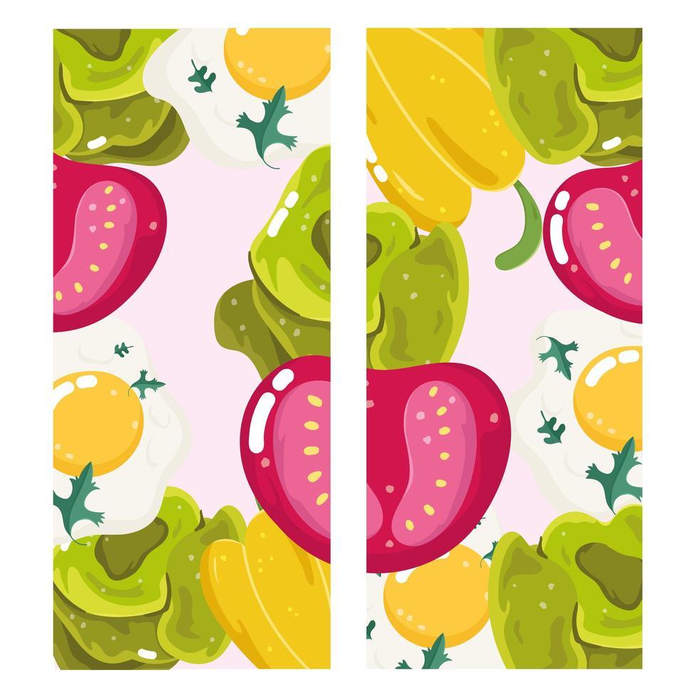 Banner mit Tomaten, Spiegeleiern, Pfeffer und Salat vektor
