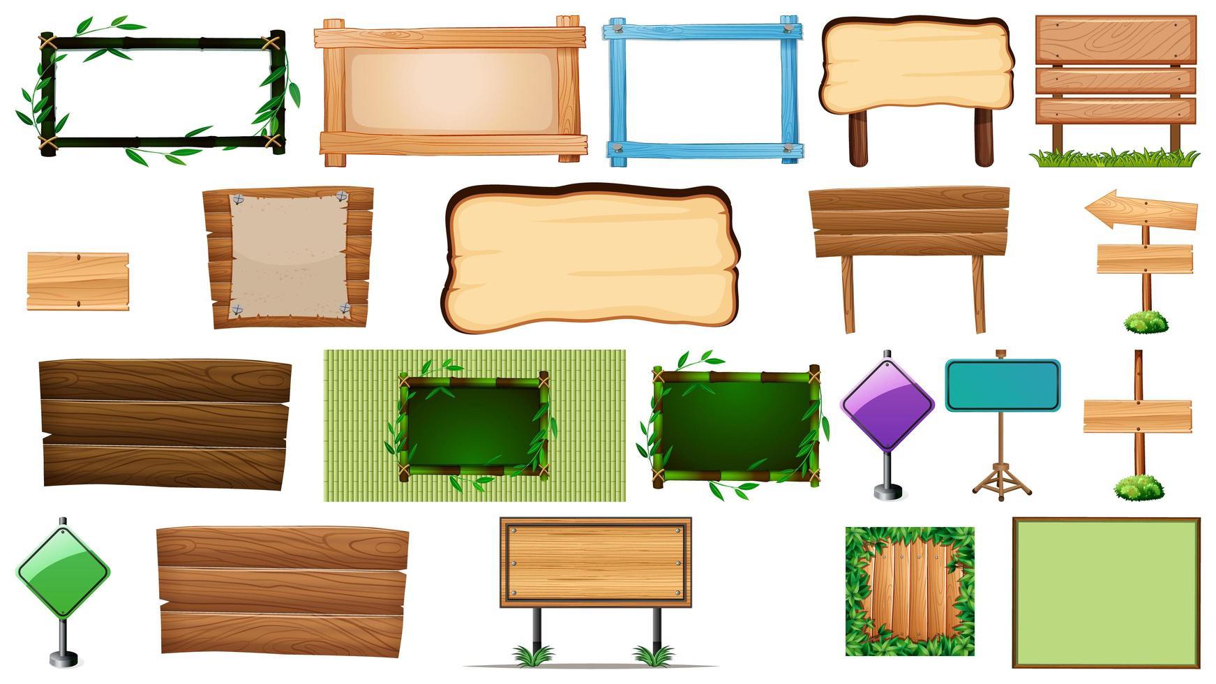 Satz von verschiedenen Arten von Zeichen Banner vektor