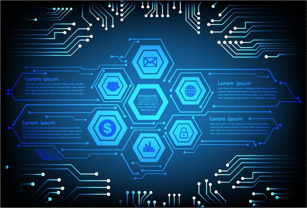 hexagon hud internet of things cyberteknologikoncept vektor
