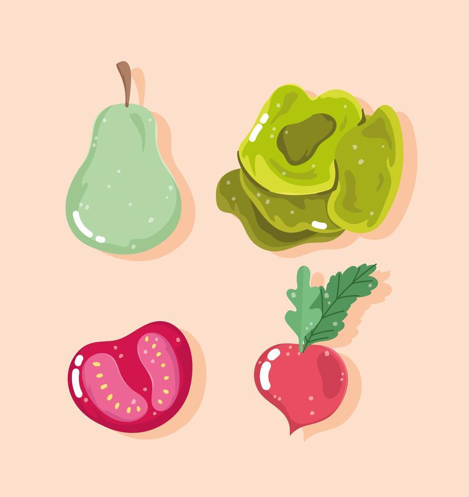 gesunde Ernährung. Birne, Tomate, Radieschen und Salat vektor