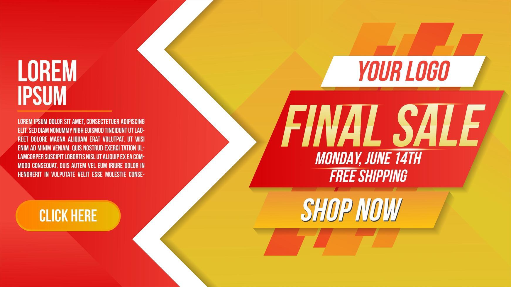 vinklad design slutlig försäljningsbanner i rött och gult vektor