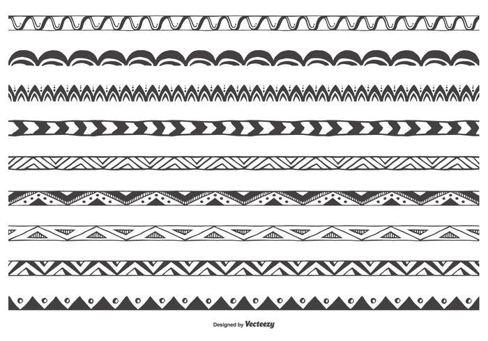 Dekorative Sketchy Vector Border-Sammlung