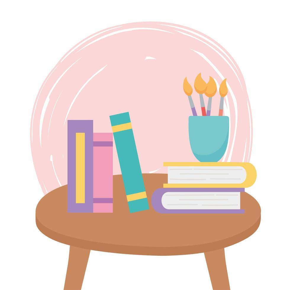 litet bord med böcker vektor