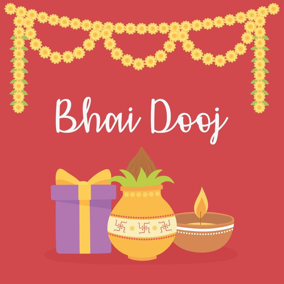 glücklich bhai dooj. Geschenk, Essen, Licht und Blumen Dekoration vektor