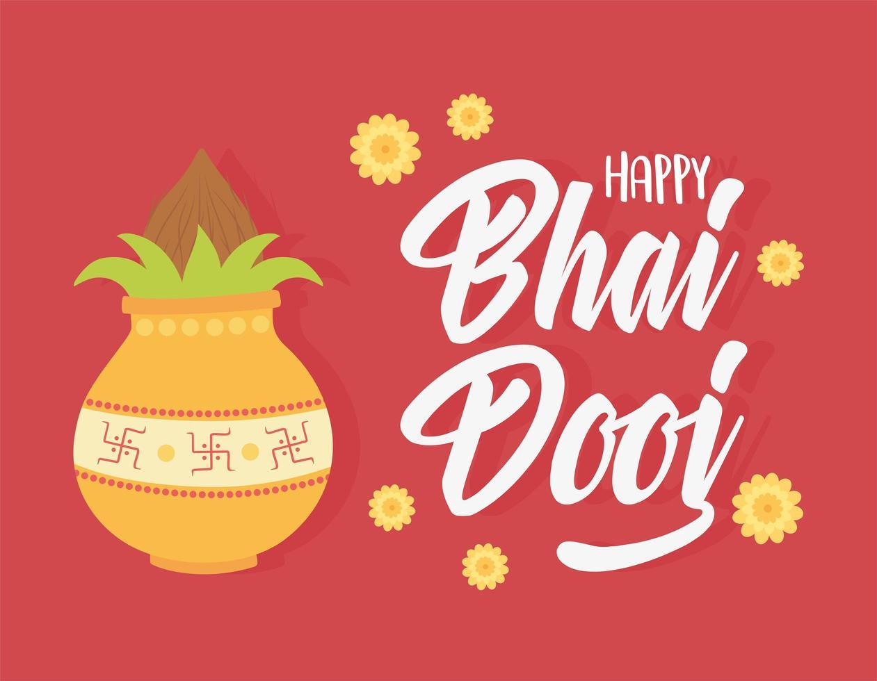 glad bhai dooj. indisk familjefest traditionell kultur vektor
