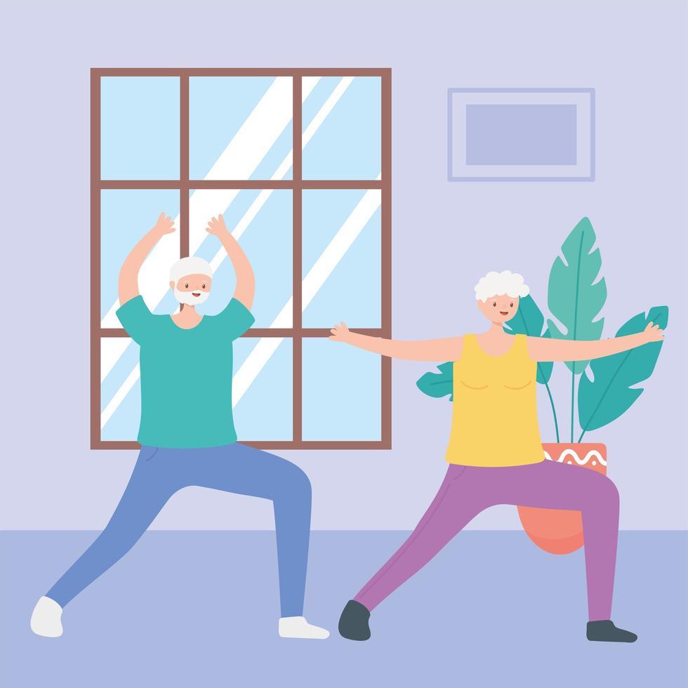 ältere Menschen, die drinnen trainieren vektor