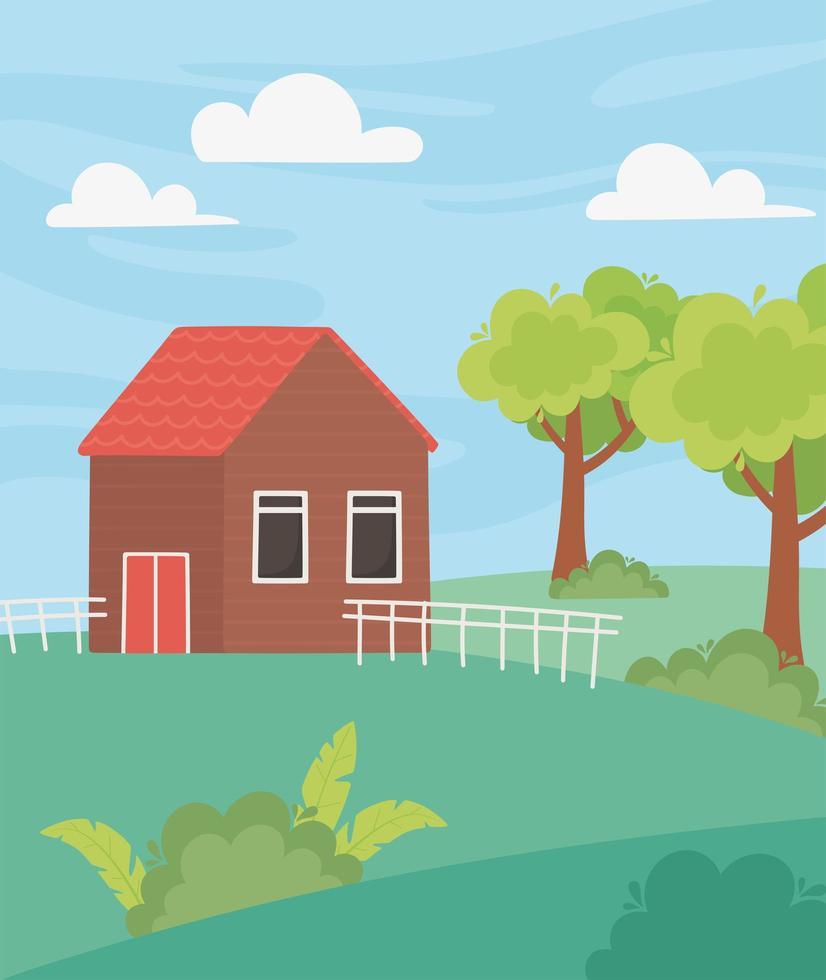 landskap stuga med staket, träd, trädgård och äng vektor
