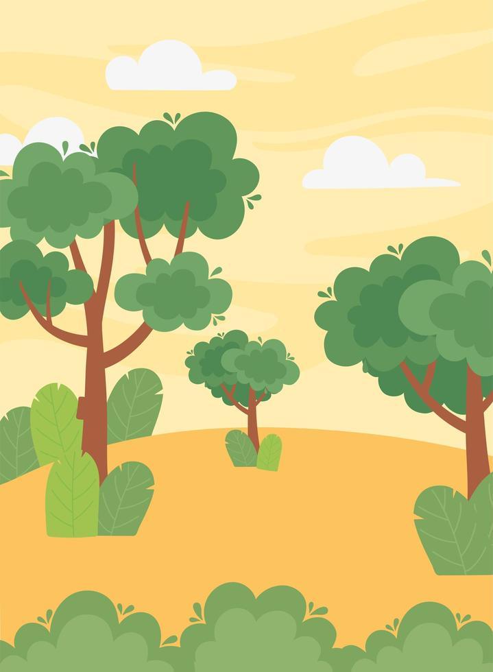 Landschaft, Baum, Laub, Blätter, Busch am Sonnenuntergang Himmel vektor
