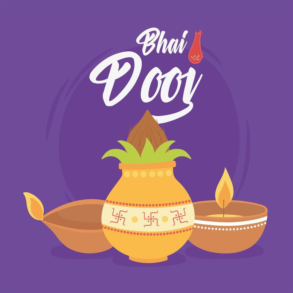 glad bhai dooj. indiska familjen ceremoni firande kort vektor