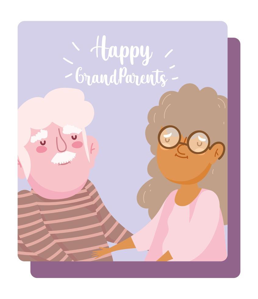 lycklig morföräldrars dag, gamla par som håller handkort vektor
