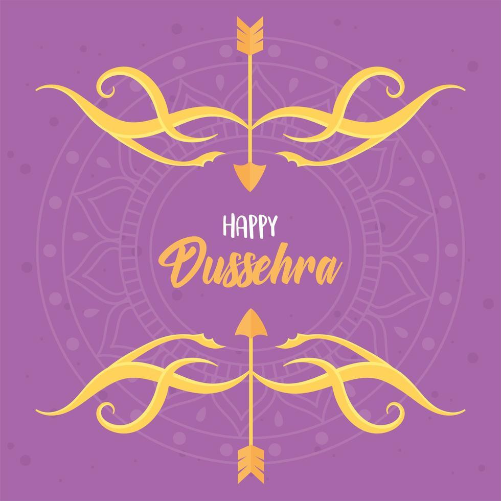 glad dussehra festival. bokstäver, pilar, båge och mandala vektor