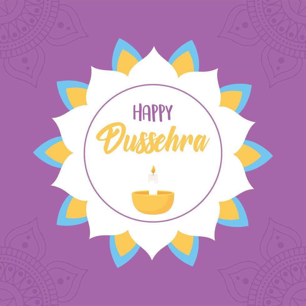 glad dussehra festival. blommig mandala och diya lampa vektor