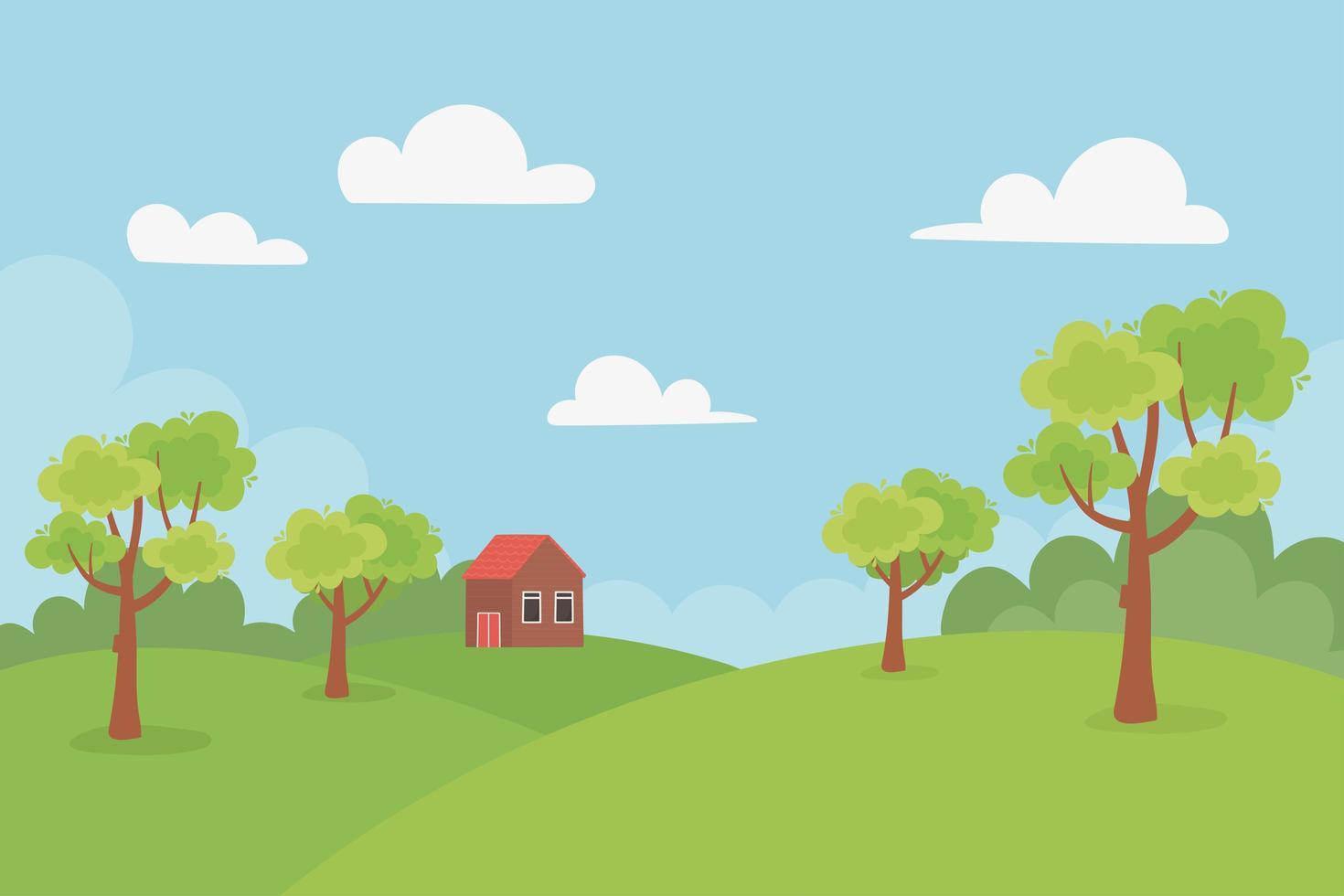 landskap stuga i kullar, träd och äng vektor