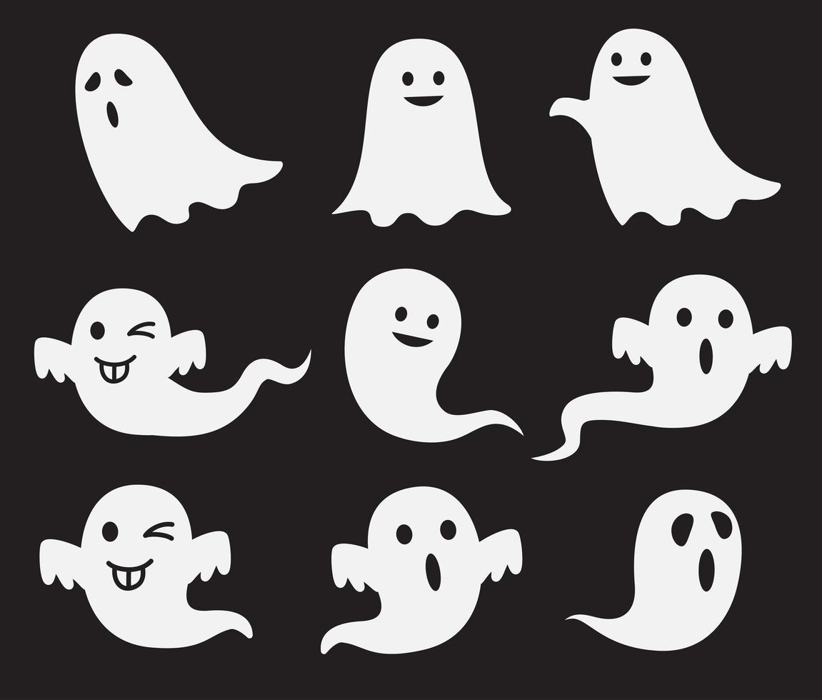 halloween söt spöke uppsättning vektor