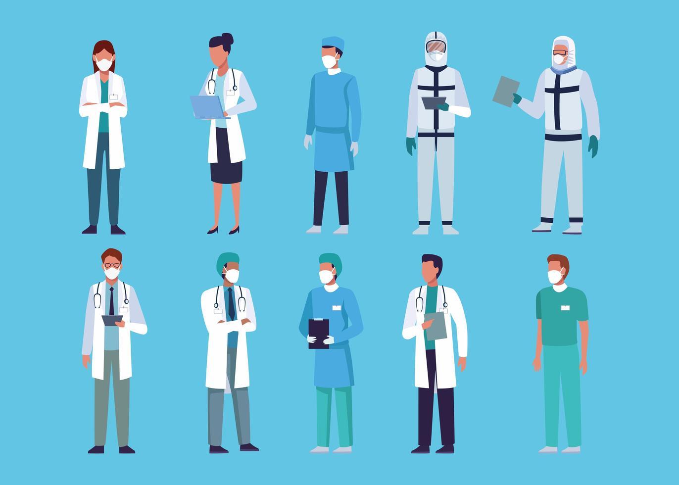 Sammlung von Ärzten, die medizinische Masken tragen vektor