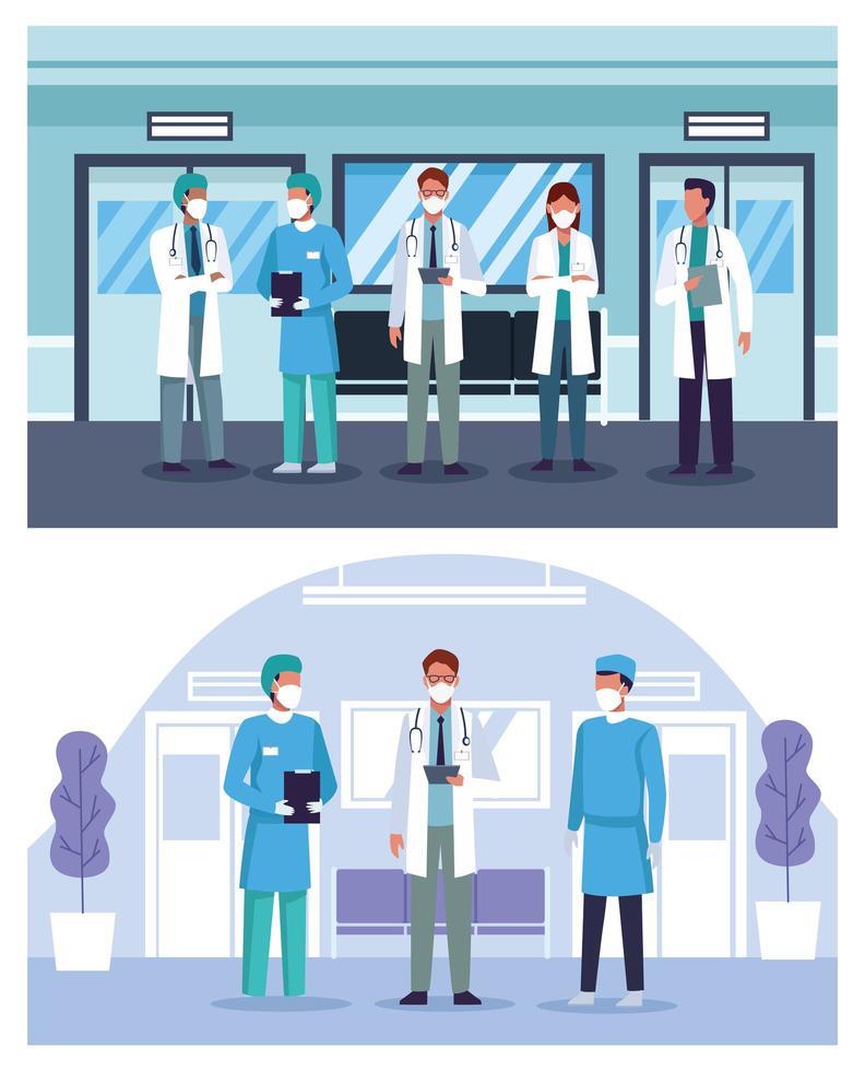grupp läkare personal på sjukhus bär ansiktsmasker vektor