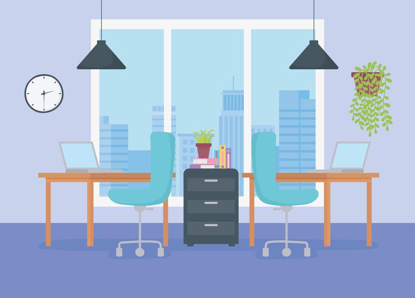 moderner Büroarbeitsplatz vektor
