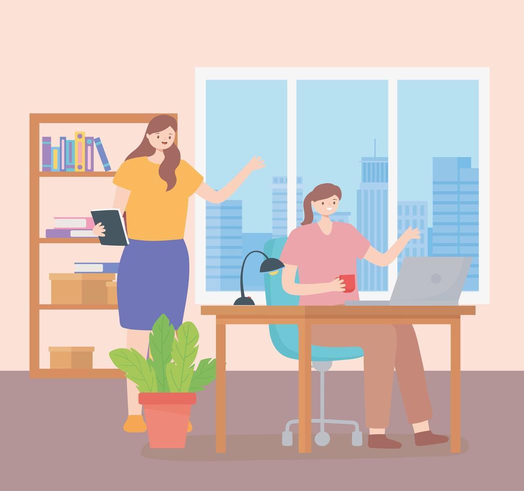 coworking koncept med kvinnor som arbetar tillsammans vektor