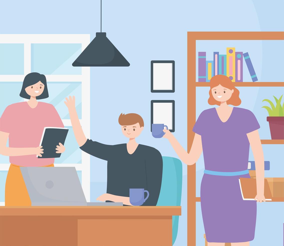 Coworking-Konzept mit Personen, die sich einen Arbeitsbereich teilen vektor