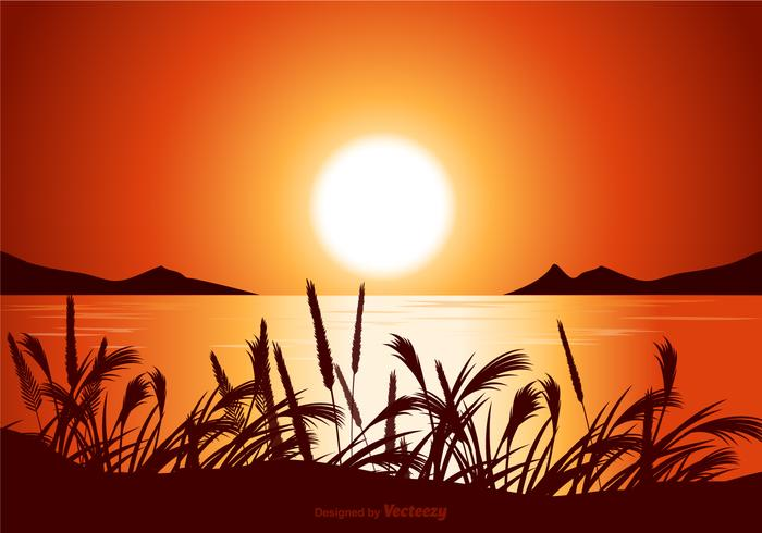 Free Vector Sunset Seascape Illustration