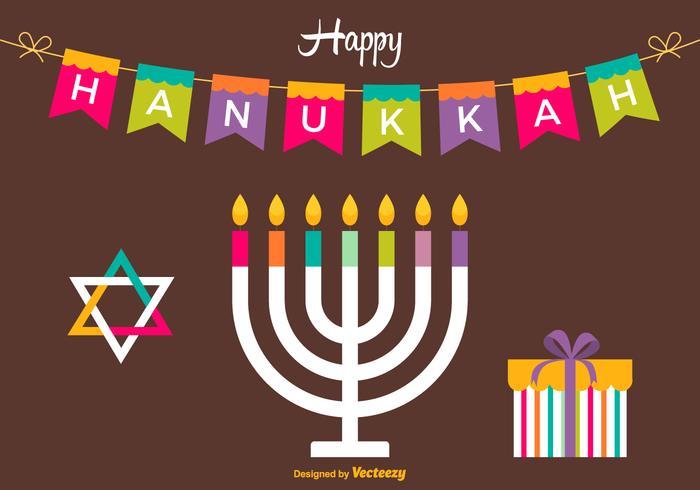Free Happy Hanukkah Vektor-Karte vektor