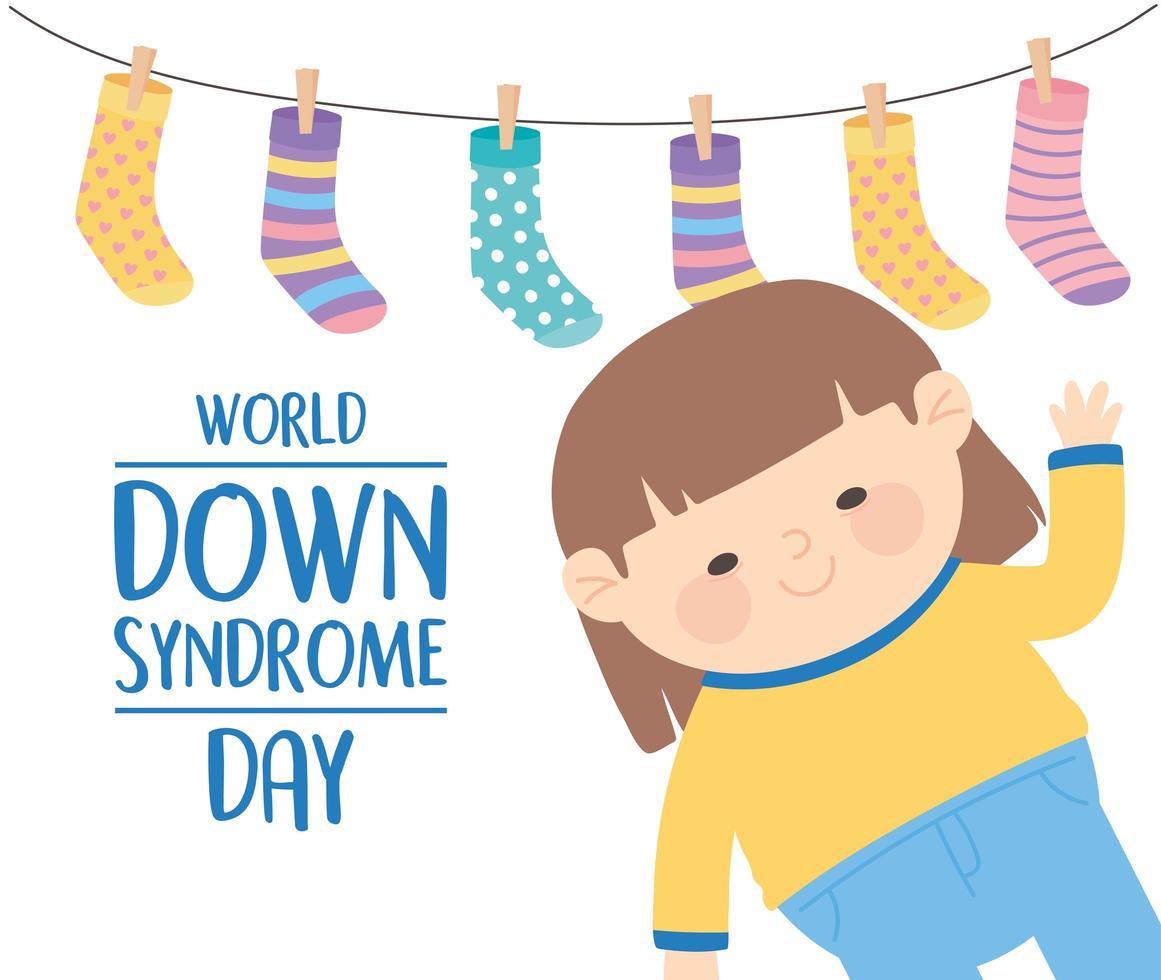 Welt-Down-Syndrom-Tag. kleines Mädchen und Socken Dekoration vektor