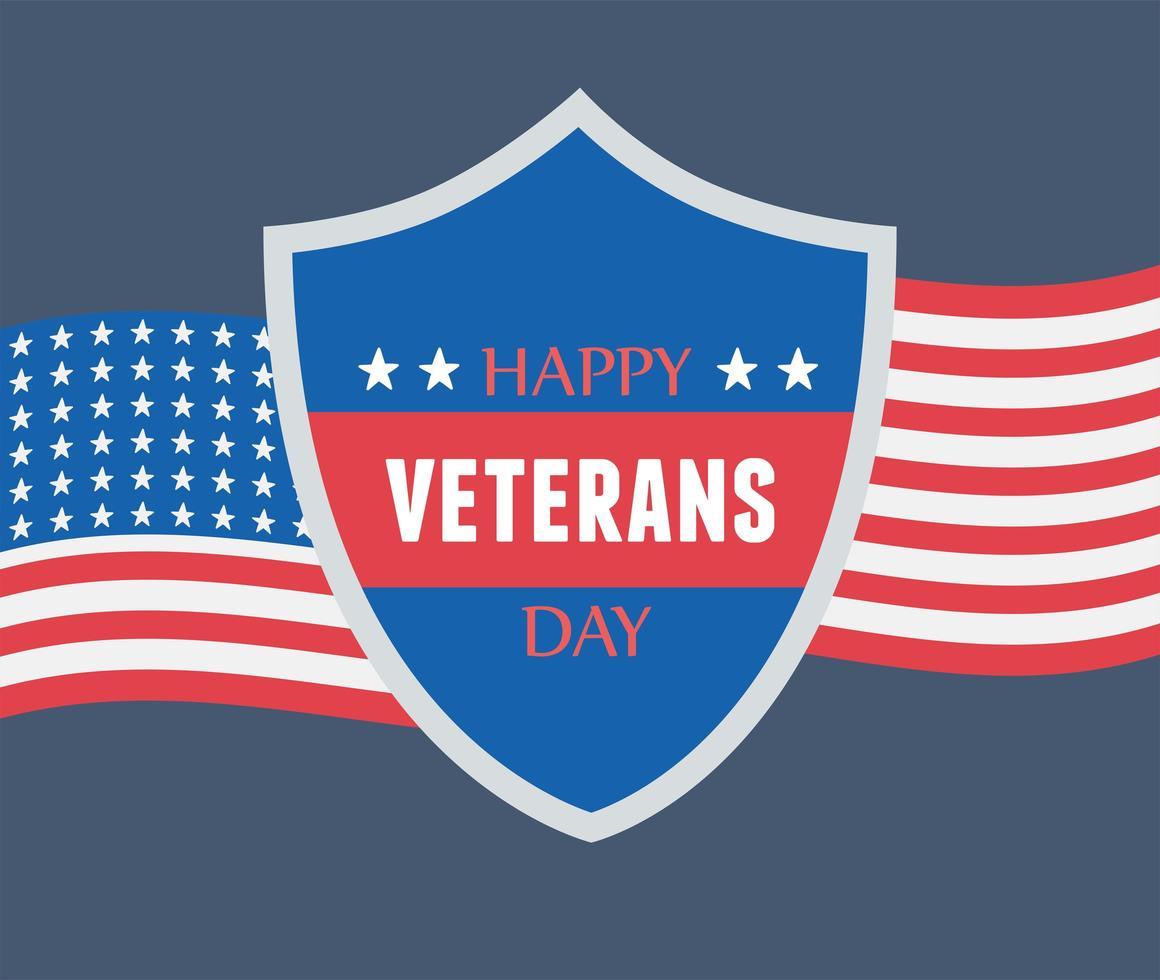 Glücklicher Veteranentag. Schild und amerikanische Flagge vektor