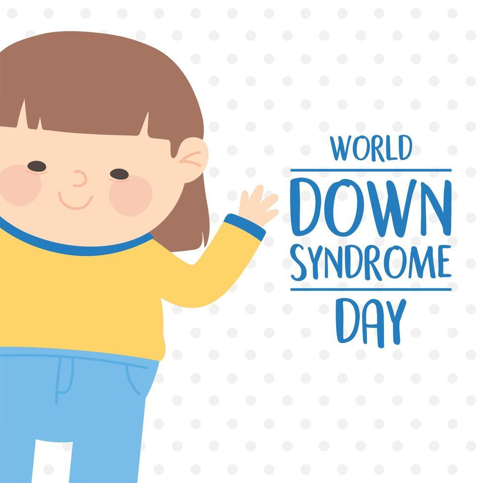 Welt-Down-Syndrom-Tag. Mädchen auf gepunktetem Hintergrund vektor