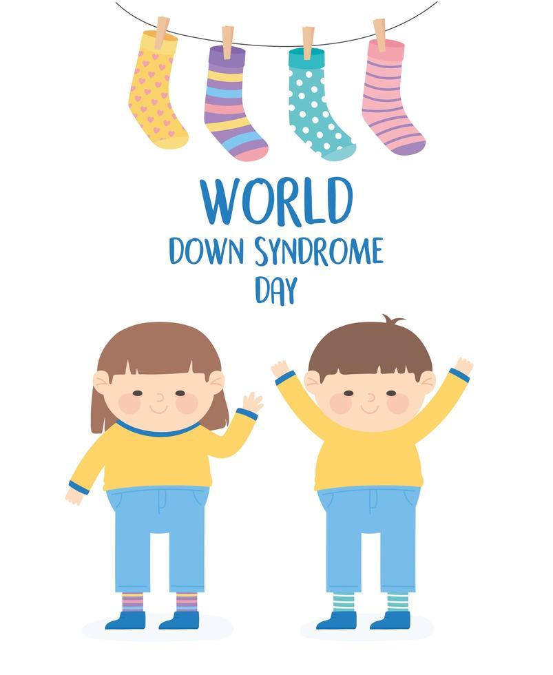 world down syndrom dag. barn och hängande strumpor vektor